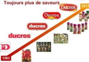 Les logotypes successifs de la société Ducros, de 1963 à 2013