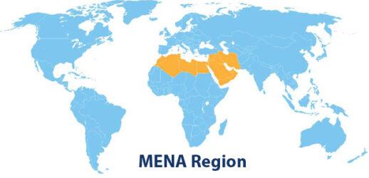 Le MENA (Middle East and North Africa) c'est à dire : l'ANMO (Afrique du Nord et Moyen Orient) ou MOAN (Moyen Orient et Afrique du Nord)