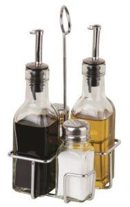 Une ménagère de table 4 pièces : sel, poivre, huile et vinaigre