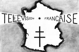 """L'image fixe """"Télévision française"""" de 1945, avec la Croix de Lorraine gaulliste"""