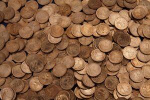 Des dizaines de pièces de russes de un kopeck