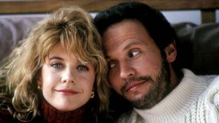 """L'actrice états-unienne Meg ryan et l'acteur états-unien Billy Crystal, dans le film états-unien """"Quand Harry rencontre Sally"""", de Rob Reiner (1989)"""