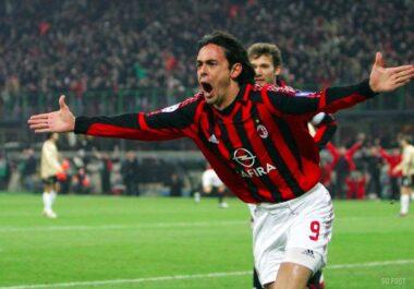 """Le joueur de football international italien Filippo Inzaghi, archétpe du """"Renard des surfaces"""""""