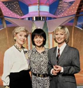 """Les animatrices de l'émission de télévision française """"Tournez manège !"""", sur TF1 (1985-1993) : Simone garnier, Fabienne Égal et Évelyne Leclercq"""
