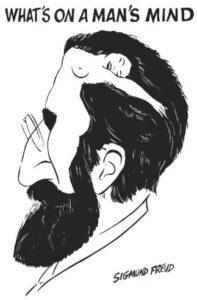"""Portrait en trompe-l'oeil du neurologue autrichien Sigmund Freud (6 mai 1856 - 23 septembre 1939), fondateur de la psychanalyse, révélant """"ce qu'il y a dans l'esprit d'un homme"""""""