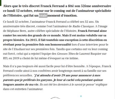 Article du site gala.fr du 13 octobre 2020