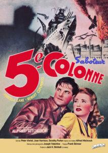 """Affiche du film états-unien """"5e colonne"""" d'Alfred Hitchcock (1942) (""""Saboteur"""")"""
