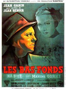 """Affiche du film français """"Les bas-fonds"""" de Jean Renoir (1936), d'après la pièce de 1902 de l'auteur dramatique russe Maxime Gorki"""