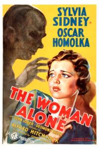 """Affiche états-unienne du film britannique """"Sabotage"""" d'Alfred Hitchcock (1936), sorti outre-Atlantique sous le titre """"The woman alone"""""""