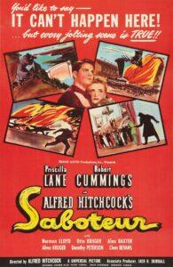 """Affiche du film états-unien """"Saboteur"""" d'Alfred Hitchcock (1942)"""