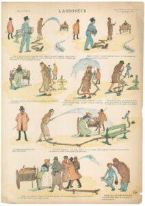 """""""L'arroseur"""", une planche humoristique dessinée en 1887 par le dessinateur français Hermann Vogel"""
