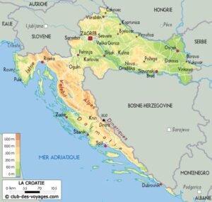 Une carte de Croatie, avec la Dalmatie, au Sud-Est, qui longe le Sud-Est de la Bosnie-Herzégovine et le Sud-Ouest du Monténégro