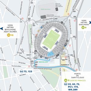Implantation du Parc des Princes, avec la ville de Paris (75) à l'Est, la ville de Boulogne-Billancourt (92) à l'Ouest, et le quartier de la Porte d'Auteuil, au Nord