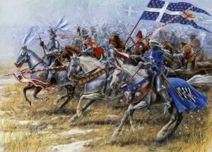 """Des chevaliers du Moyen Âge, """"montés sur leurs grands chevaux"""" au sens propre"""