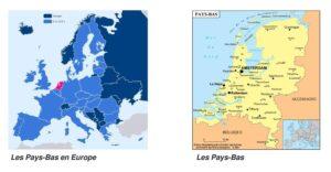 Localisation en Europe et carte des Pays-Bas