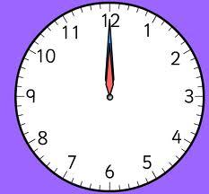 """Un dessin de pendule affichant 12H (""""Midi"""") ou 0H (""""Minuit"""")"""