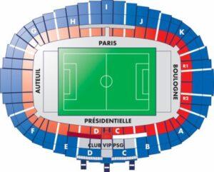 Plan du Parc de Princes, le stade du Paris Saint-Germain, à Paris (75)