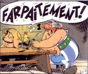 """Obélix, le livreur de menhir gaulois, saoul comme un cochon, dans """"Les lauriers de César"""", le 18e album de la série de bande dessinée française """"Astérix"""", publié en 1972 par Albert Uderzo et René Goscinny"""
