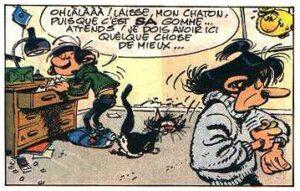 Le Flagada, sur un poster des bureaux de la rédaction du journal Spirou, dans un gag de Gaston Lagaffe, par André Franquin (gag 625, paru dans le n° 1684 du journal, Spirou, du 23 juillet 1970))