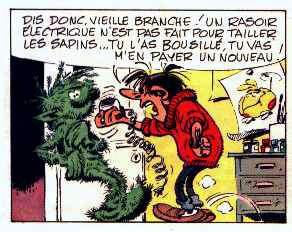 Le Flagada, sur un poster des bureaux de la rédaction du journal Spirou, dans un gag de Gaston Lagaffe, par André Franquin (gag 654, paru dans le n° 1713 du journal, Spirou, du 11 février 1971)