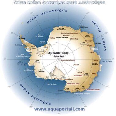 Carte de l'Antarctique, à l'extrême-Sud du globe terrestre