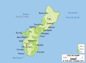 Carte de l'île de Guam, dans le Pacifique