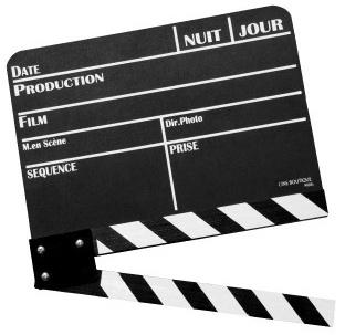 """Une claquette (""""clap"""") de cinéma"""