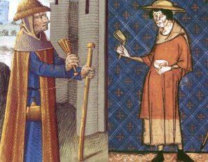 Des lépreux agitant leur crécelle, au Moyen Âge