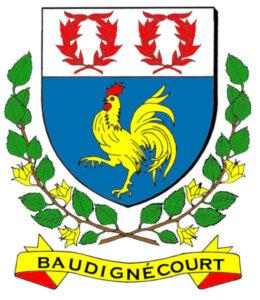 """Le blason de la ville de Baudignécourt (55), avec un """"Coq hardi"""""""