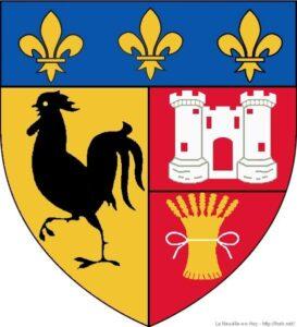 """Le blason de la ville de La-Neuville-en-Hez (60), avec un """"Coq hardi"""""""