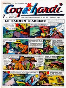 """Couverture du n°35 de la 3e année de la nouvelle série du journal de bande dessinée français """"Coq hardi"""", sorti le 21 novembre 1946"""