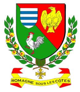 """Le blason de la ville de Romagne-sous-les-Côtes (55), avec un """"Coq hardi"""""""