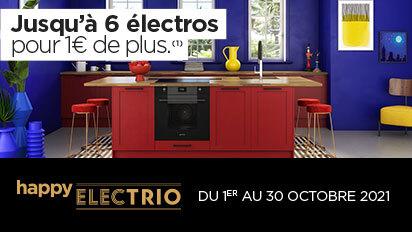 """Publicité d'octobre 2021 pour le """"Happy electrio"""" du cuisiniste français """"Cuisine Plus"""""""