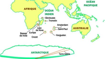 Localisation des TAAF (Terres Australes Antarctiques Françaises)