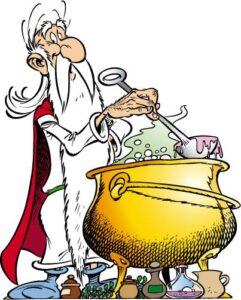 """Le druide Panoramix préparant son """"breuvage"""" : la potion magique (© Albert Uderzo et Hachette)"""