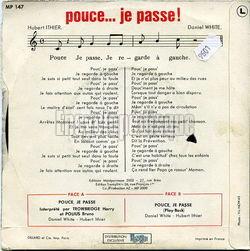 """Verso de la pochette du disque 45t de 1970 """"Pouce... je passe"""", de Harry (Trowbridge) et Bruno (Polius)"""